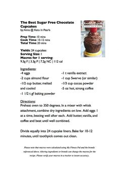 The Best Sugar Free Chocolate Cupcakes   Keto In Pearls   A Ketogenic Lifestyle Blog