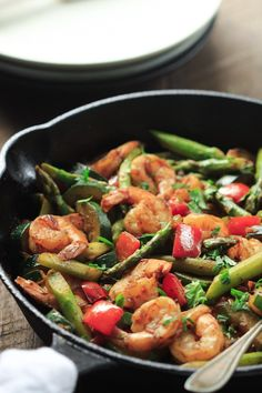 This Shrimp Vegetable Skillet recipe is loaded with veggies, flavorful spices and shrimp. It's a low-carb, gluten-free and paleo one-pan meal.