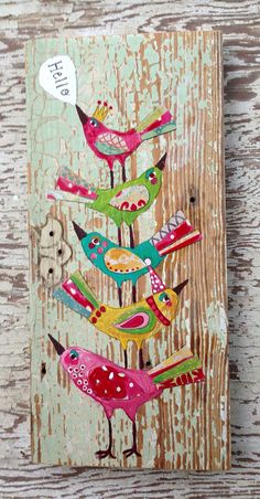 Hello Birds Folk Art Original Painting on Etsy, $68.00