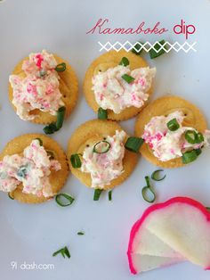 RECIPE: Kamaboko Dip: 91 DASH - this dip did well on sushi rice with Korean flavored nori too! Ono Kine Recipes, My Recipes, Cooking Recipes, Favorite Recipes, Recipies, Seafood Recipes, Finger Food Appetizers, Appetizer Dips, Appetizer Recipes
