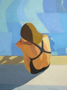 "Saatchi Art Artist Gil Haller; Painting, ""Sharon by the pool"" #art"