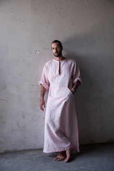 Men's loose fitting, pure linen beach / loungewear. Pale rose kaftan.
