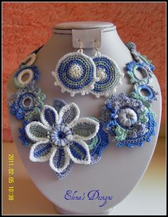 Crochet Set Statement Earrings Necklace by elenascrochetjewelry