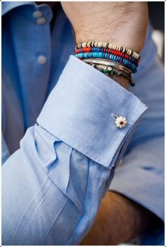 "Cufflinks + bracelets thetieguy: "" not a usual cufflink fan but this looks really good. Style Casual, My Style, Style Blog, Classic Men, Well Dressed Men, Bracelets For Men, Hippie Bracelets, Beach Bracelets, Couple Bracelets"