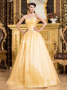 Ball Gown Princess Strapless Sweetheart Long / Floor-Length Satin Organza Quinceanera Dress front back detail and photogallery