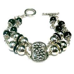 Black Bracelet Silver Jewelry Double Strand Crystal by cdjali, $22.00