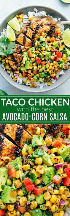 Taco Chicken Bowls with a Corn Avocado Salsa Recipe The BEST marinated TACO CHICKEN with an amazing avocado grilled corn salsa! Delicious and healthy!The BEST marinated TACO CHICKEN with an amazing avocado grilled corn salsa! Delicious and healthy! Healthy Dinner Recipes, Mexican Food Recipes, New Recipes, Cooking Recipes, Recipies, Kitchen Recipes, Whole30 Recipes, Paleo Dinner, Cookbook Recipes