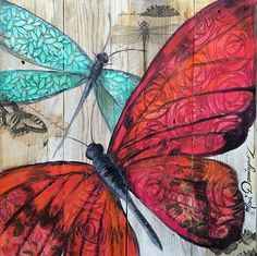 Dominguez Butterflies & hearts symbols the soul and change and love. this is a wonderful collage. Butterfly Art, Flower Art, Butterflies, Pretty Pictures, Art Pictures, Sketch Manga, Decoupage Printables, Art Journal Inspiration, Wood Art
