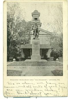 """Athens PA Soldiers' Monument """"Old Academy"""" 1904 Athens History, Two Rivers, Hudson Valley, Soldiers, Statue Of Liberty, Live, Sweet, Vintage, Statue Of Liberty Facts"""