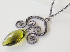 wire wrap bar style necklaces | Wire Wrapped Sterling Silver Indian Style Pendant Necklace, Peridot ...