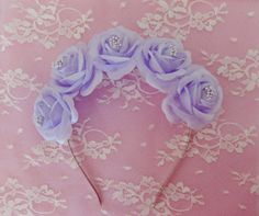 Lily Flower crown- Silver Spikes Pastel Goth Lana Del Rey Light Purple Lilac Roses (Nu Goth Kawaii Fairy Victorian Wedding Festival Anime)