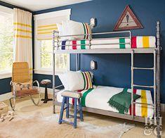 boy bedroom with steel frame bunk beds