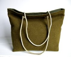 Tote Bag made out of salvaged WWII wool Army blankets