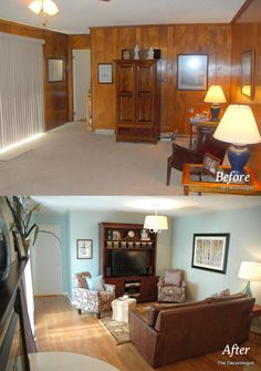 Before After Outdated Paneled Walls To Fabulous Space