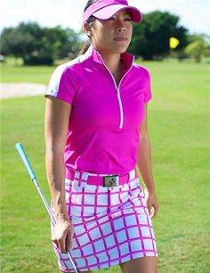 JoFit Amped Golf Mock Polo and Scratchy Windowpane Belted Golf Skort | #Golf4Her #summer #golf #GolfClothes