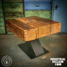 Reclaimed Barn Beam Side Table with Custom Steel Base - Modern Industrial - Vintage Modern Decor - Industrial Reclaim.com