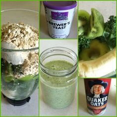 Green Lactation Smoothie: 1 banana, 1 green apple, 3 kiwi, 2 leaves of kale, 2/3 cup old fashioned oats, 1 scoop brewers yeast (15g) handful of ice, 2 cups (or more) filtered ice water. Makes 2 large yummy servings!