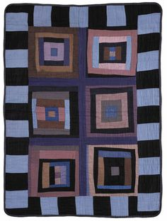 Doll or crib quilt, Indiana Amish.  Looks like a modern improv quilt except for the colors!