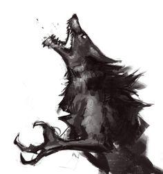 Skyrim Werewolf Sketch by Skyrim Werewolf, Werewolf Art, Werewolf Drawings, Fantasy Kunst, Fantasy Art, Fantasy Creatures, Mythical Creatures, Arte Dark Souls, Character Art