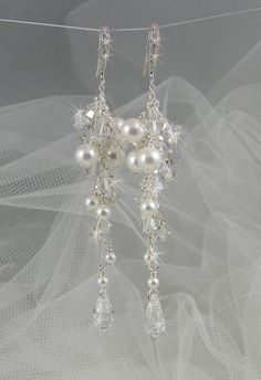 $35 Pearl Bridal Earrings, Crystal and Pearl wedding earrings, Postively Platinum Earrings, Wedding, Bridal, Crystal inlay vintage sterling