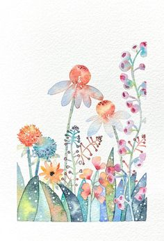 Painting & Drawing, Painting Prints, Watercolor Paintings, Original Paintings, Watercolors, Watercolor Fashion, Floral Watercolor, Artist Pens, Colorful Garden