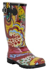 Nomad® Ladies Orange Multi Print Rain Boots