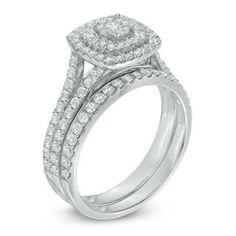 1 CT. T.W. Composite Diamond Double Frame Split Shank Bridal Set in 10K White Gold | Engagement Rings | Wedding | Zales
