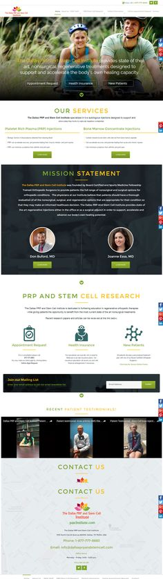 Beautiful new website for Dallas PRP and Stem Cell Research