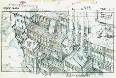 Film: Spirited Away (千と千尋の神隠し) ===== Layout Design - Scene: Outside The Living Quarters ===== Hayao Miyazaki