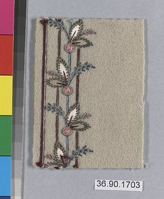 Sample Date: early 19th century Culture: French Medium: Silk and metal thread on felt Dimensions: L. 3 1/4 x W. 2 1/2 inches 8.3 x 6.4 cm Classification: Textiles-Embroidered Credit Line: Gift of The United Piece Dye Works, 1936