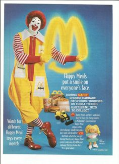 Items similar to 1994 Advertisement McDonald's Canada Happy Meal Cabbage Patch Kids Tonka Toy Kids Ronald Clown Golden Arches Smiley Face Logo Wall Art Decor on Etsy