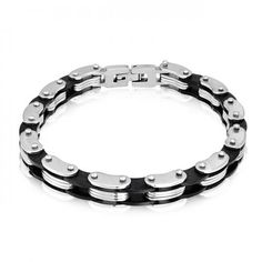 Mens Bicycle Chain Bracelet Stainless Steel Black Rubber 8in
