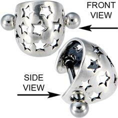 Sterling Silver 925 HOLLOW STAR Pierced Ear Cuff | Body Candy Body Jewelry