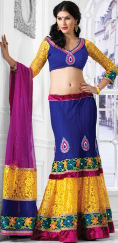 #Wedding Net #Lehenga in #Yellow and #Blue Combination | @ $141.24