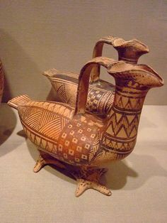 Pair of Askoi (Oil Flasks) in the form of Birds Greek Boiotian late 8th century BCE Ceramic