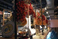 Jamie's Italian restaurant bar. Decorated by cherry tomatoes, garlic, cheese and salami.
