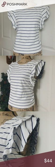 Anthropologie Postage Stamp Top Excellent condition   Unique and elegant white and navy blue striped top with ruffled sleeves Anthropologie Tops