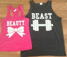 6d8b2dfa151 Free Fast Shipping for US Beauty And The Beast Matching Couples Tank Top.  Pink and Charcoal Gray and other apparel, accessories and trends.