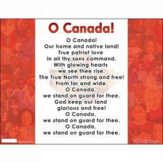 O Canada Flag Chart English
