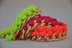 FLUO - Bracciale SatinChain oro - catena BIG www.facebook.com/satinchain #bracelet #fluo #chain