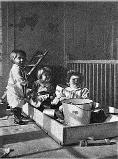 A Brief History of the Sandbox:  Called a sand garden, originated with a suggestion to Friedrich Froebel, founder of the kindergarten movement.
