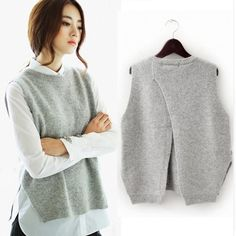 winter and autumn vest waistcoat jacket women sweater loose vest o-neck pullover big yards wool vest female hedging