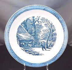 """Currier and Ives Blue and Ivory Snowy Morning Pie Dish, 9 3/4"""" #CurrierandIves"""