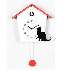 Wooden Cuckoo Cat Clock