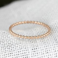 14k 18 k rose gold Perle Ring 15 mm Stack Ring von EnveroJewelry