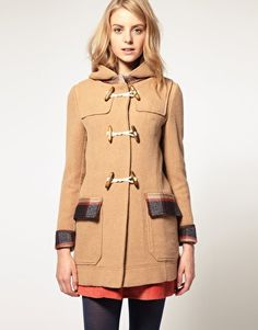 ASOS Duffle Coat With Check Contrast from asos.com