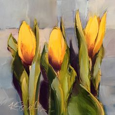 The hope of spring is an original oil painting of yellow tulips by Lancaster, Pa artist Kim Smith painted on the first day of spring #originalart #tulippainting #homedecor #wallart #interiordesign #homedecorinspiration