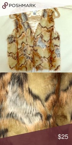 Faux Fur Vest EUC. Worn once. Collarless. Multicolor fur. Hook and eye front closure. Silky lining. WD-NY Jackets & Coats Vests