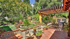 Saltillo Tile Patio | Back Yard Oasis with Custom Pergolas, Saltillo Tile Patios and Hot Tub