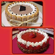 Strawerberry cake and chocolate cake